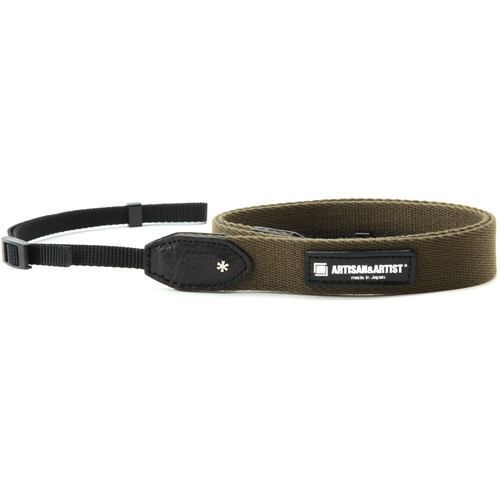 Artisan & Artist Slim Camera Strap with Tape Attachment (Acrylic/Leather, Khaki)