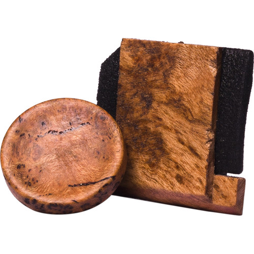 Artisan Obscura Soft Shutter Release & Hot Shoe Cover Set (Small, Concave, Sticky-Backed, Cherry Burl)