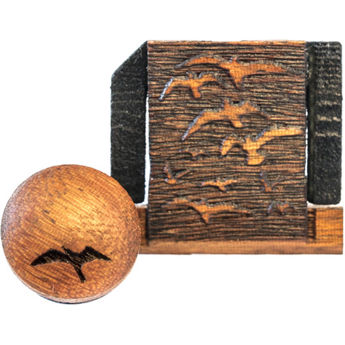 Artisan Obscura Soft Shutter Release & Hot Shoe Cover Set with Etched Flock of Birds Design (Small Concave, Sticky-Backed, Chakte Viga Wood)