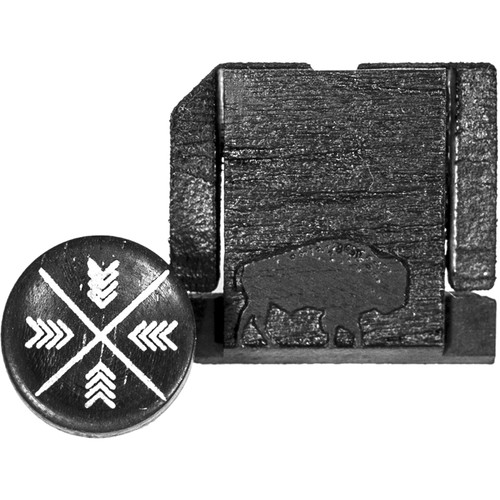 Artisan Obscura Soft Shutter Release & Hot Shoe Cover Set with Etched Buffalo Design (Small Concave, Sticky-Backed, Ebony Wood)