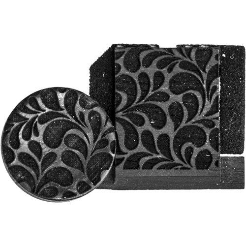 Artisan Obscura Soft Shutter Release & Hot Shoe Cover Set with Etched Leaves Design (Small Concave, Sticky-Backed, Ebony Wood)