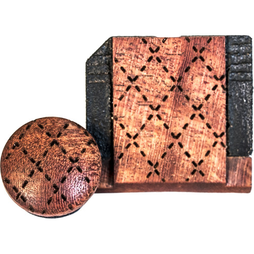 Artisan Obscura Soft Shutter Release & Hot Shoe Cover Set with Etched Argyle Design (Small Concave, Sticky-Backed, Ivorywood)