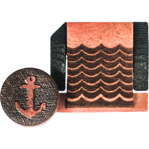 Artisan Obscura Soft Shutter Release & Hot Shoe Cover Set with Etched Anchors & Waves Design (Small Concave, Sticky-Backed, Ivorywood)