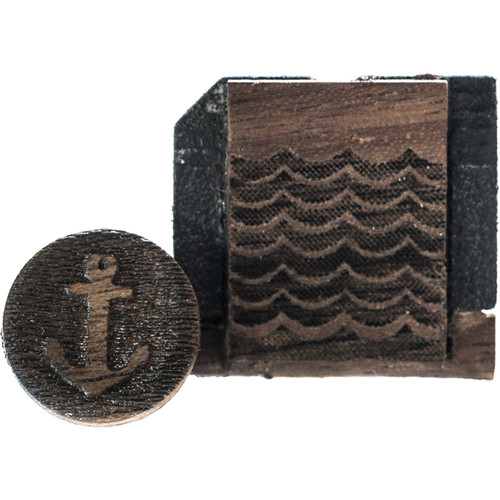 Artisan Obscura Soft Shutter Release & Hot Shoe Cover Set with Etched Anchors & Waves Design (Small Concave, Sticky-Backed, Walnut Wood)