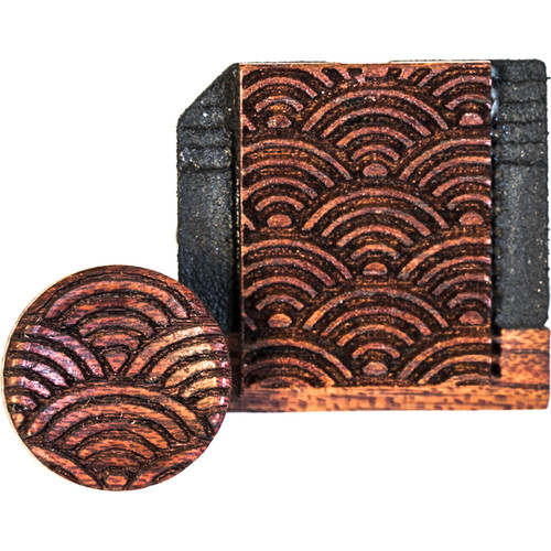 Artisan Obscura Soft Shutter Release & Hot Shoe Cover Set with Etched Empty Rainbows Design (Small Convex, Threaded, Bloodwood)