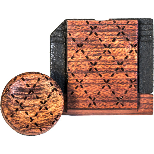 Artisan Obscura Soft Shutter Release & Hot Shoe Cover Set with Etched Argyle Design (Small Concave, Threaded, Bloodwood)
