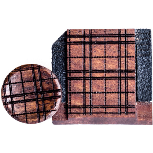 Artisan Obscura Soft Shutter Release & Hot Shoe Cover Set with Etched Plaid Design (Small Concave, Threaded, Bloodwood)