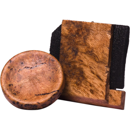 Artisan Obscura Soft Shutter Release & Hot Shoe Cover Set (Large Concave, Threaded, Cherry Burl Wood)