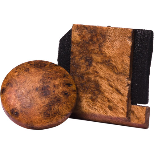 Artisan Obscura Soft Shutter Release & Hot Shoe Cover Set (Small Convex, Threaded, Cherry Burl Wood)