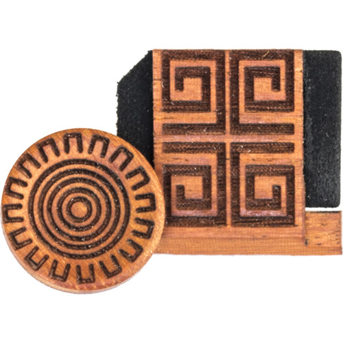 Artisan Obscura Soft Shutter Release & Hot Shoe Cover Set with Etched Aztec Sun Design (Large Convex, Threaded, Chakte Viga Wood)