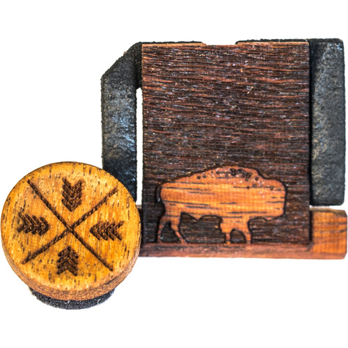 Artisan Obscura Soft Shutter Release & Hot Shoe Cover Set with Etched Buffalo Design (Large Convex, Threaded, Chakte Viga Wood)