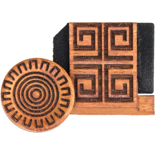 Artisan Obscura Soft Shutter Release & Hot Shoe Cover Set with Etched Aztec Sun Design (Large Concave, Threaded, Chakte Viga Wood)