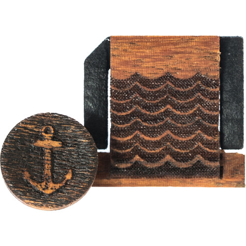 Artisan Obscura Soft Shutter Release & Hot Shoe Cover Set with Etched Anchors & Waves Design (Large Concave, Threaded, Chakte Viga Wood)