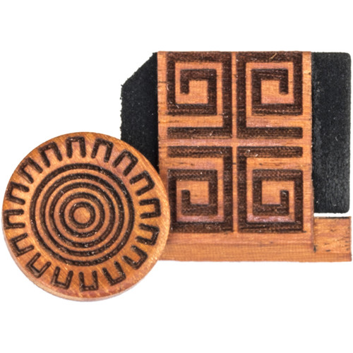 Artisan Obscura Soft Shutter Release & Hot Shoe Cover Set with Etched Aztec Sun Design (Small Concave, Threaded, Chakte Viga Wood)