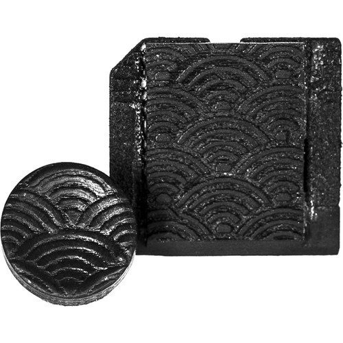 Artisan Obscura Soft Shutter Release & Hot Shoe Cover Set with Etched Argyle Design (Large Convex, Threaded, Ebony Wood)