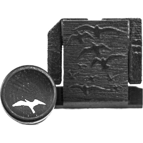 Artisan Obscura Soft Shutter Release & Hot Shoe Cover Set with Etched Flock of Birds Design (Large Convex, Threaded, Ebony Wood)