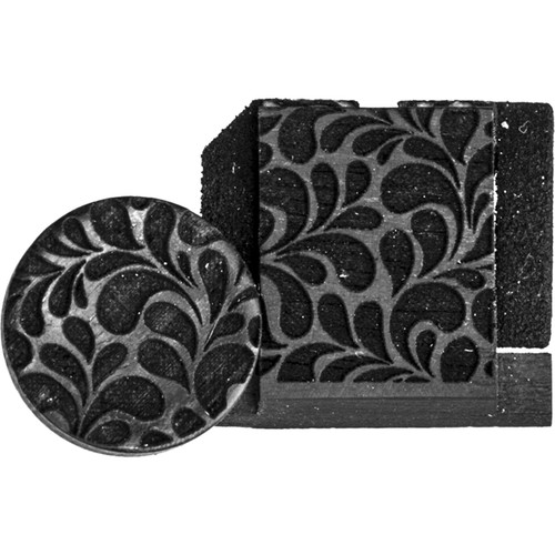 Artisan Obscura Soft Shutter Release & Hot Shoe Cover Set with Etched Leaves Design (Small Concave, Threaded, Ebony Wood)