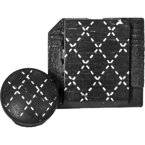Artisan Obscura Soft Shutter Release & Hot Shoe Cover Set with Etched Argyle Design (Large Concave, Threaded, Ebony Wood with White Inlay)