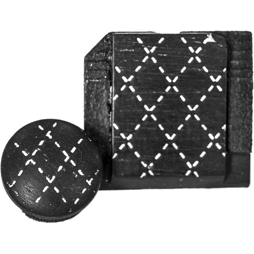 Artisan Obscura Soft Shutter Release & Hot Shoe Cover Set with Etched Argyle Design (Small Concave, Threaded, Ebony Wood with White Inlay)