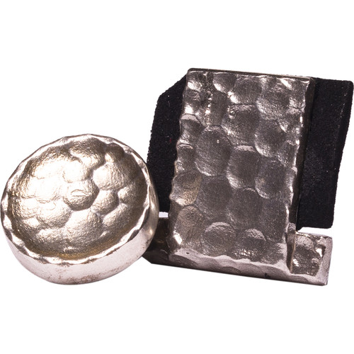 Artisan Obscura Soft Shutter Release & Hot Shoe Cover Set (Small Concave, Threaded, Hand-Hammered Silver)