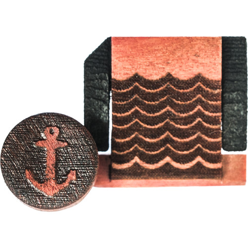 Artisan Obscura Soft Shutter Release & Hot Shoe Cover Set with Etched Anchors & Waves Design (Large Concave, Threaded, Ivorywood)