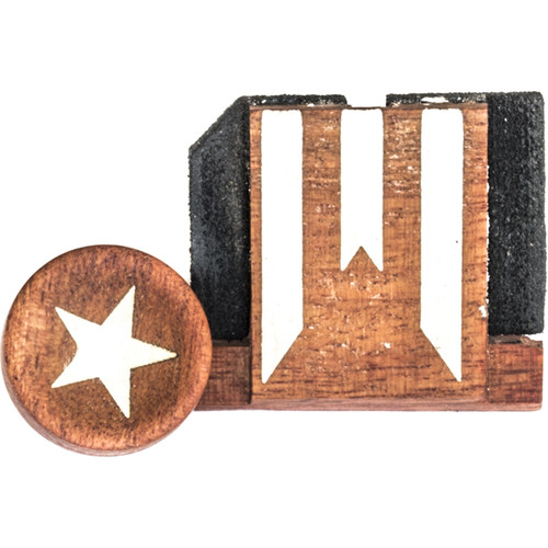 Artisan Obscura Soft Shutter Release & Hot Shoe Cover Set with Etched Stars & Stripes Design (Large Concave, Threaded, Ivorywood)
