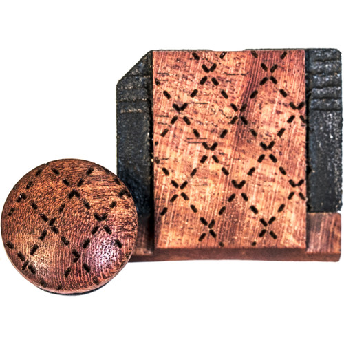 Artisan Obscura Soft Shutter Release & Hot Shoe Cover Set with Etched Argyle Design (Small Convex, Threaded, Ivorywood)
