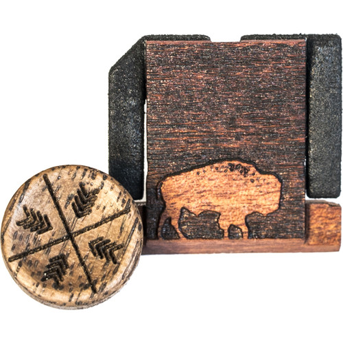 Artisan Obscura Soft Shutter Release & Hot Shoe Cover Set with Etched Buffalo Design (Large Convex, Threaded, Walnut Wood)
