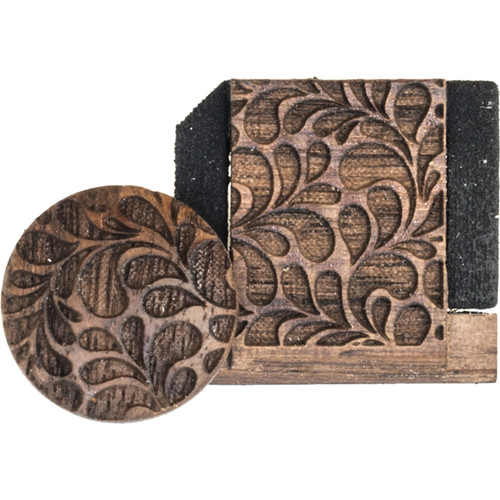 Artisan Obscura Soft Shutter Release & Hot Shoe Cover Set with Etched Leaves Design (Large Convex, Threaded, Walnut Wood)
