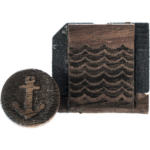 Artisan Obscura Soft Shutter Release & Hot Shoe Cover Set with Etched Anchors & Waves Design (Large Concave, Threaded, Walnut Wood)