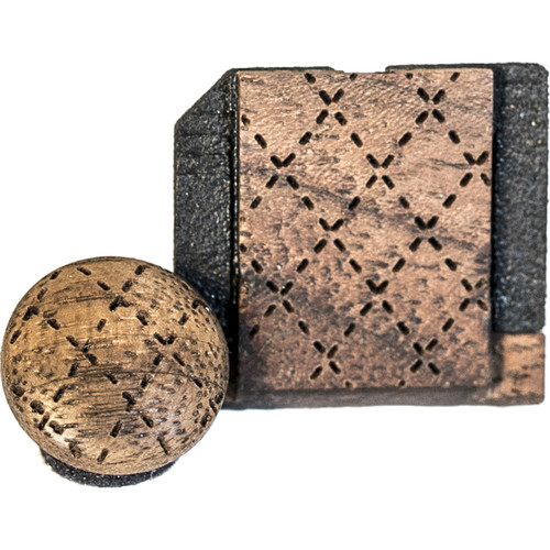 Artisan Obscura Soft Shutter Release & Hot Shoe Cover Set with Etched Argyle Design (Small Concave, Threaded, Walnut Wood)