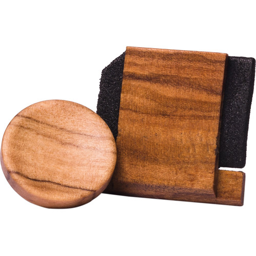 Artisan Obscura Soft Shutter Release & Hot Shoe Cover Set (Large Concave, Threaded, Wild Olive Wood)