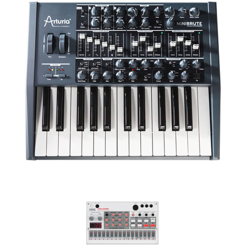 Arturia MiniBrute Analog Monophonic Synthesizer & Korg volca sample Digital Sample Sequencer Kit