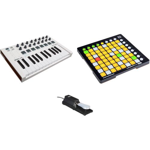 Arturia MiniLab Mk II - USB-MIDI Controller Kit with Novation Launchpad Mini and Pedal