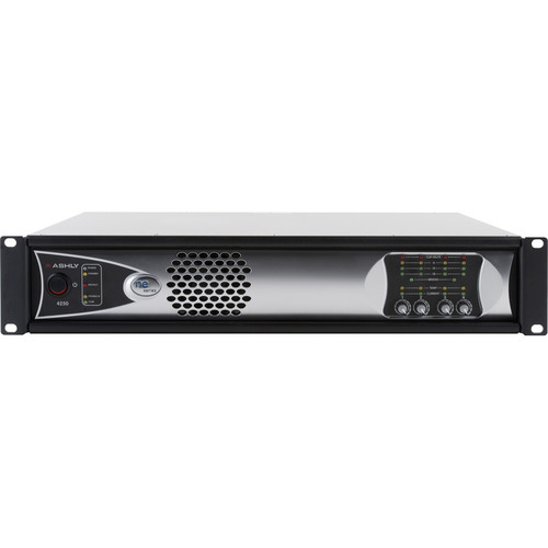 Ashly 4-Channel 1000W Network-Enabled Power Amplifier with AES3, OPDAC4, and OPDante Cards (70V)