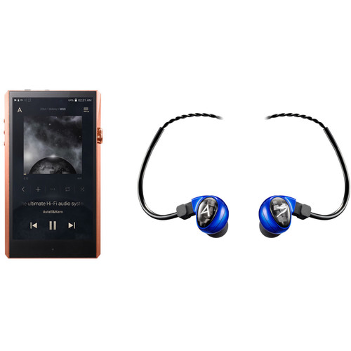 Astell&Kern A&ultima Series SP1000 High-End Music Player (Copper) with Billie Jean In-Ear Monitors (Blue) Kit