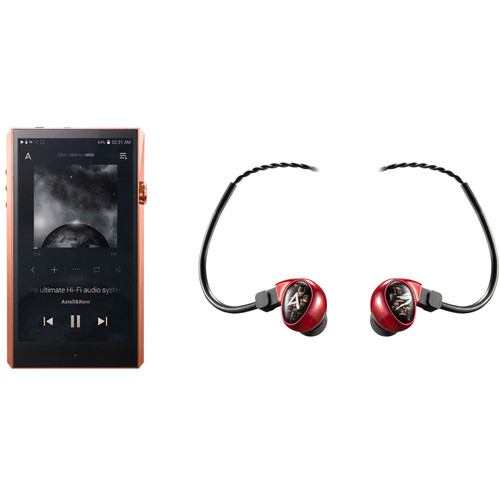 Astell&Kern A&ultima Series SP1000 High-End Music Player (Copper) with Billie Jean In-Ear Monitors (Red) Kit