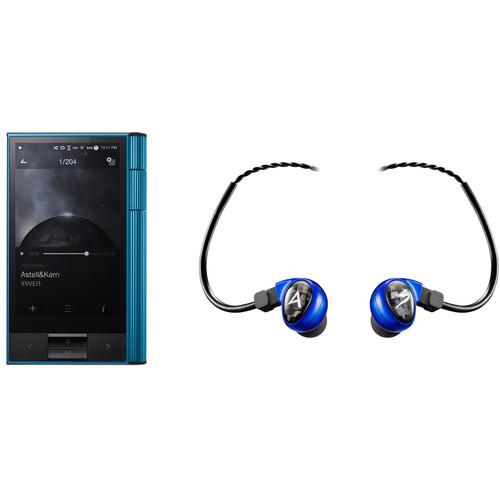 Astell&Kern KANN Audio Player (EOS Blue) with Billie Jean In-Ear Monitors (Blue) Kit