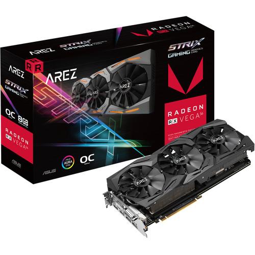 ASUS Arez Strix Radeon RX Vega56 8GB OC Edition VR Ready 5K HD Gaming DP HDMI DVI AMD Gaming Graphic Card