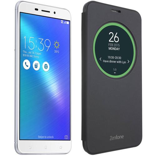 ASUS Glacier Silver ZenFone 3 Laser 32GB Smartphone Kit with Black Flip Cover Case (Unlocked)