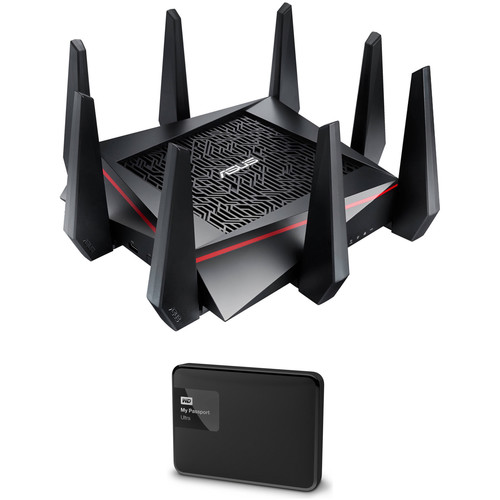 ASUS RT-AC5300 Tri-Band Wireless AC5300 Gigabit Router with 1TB WD Portable Hard Drive