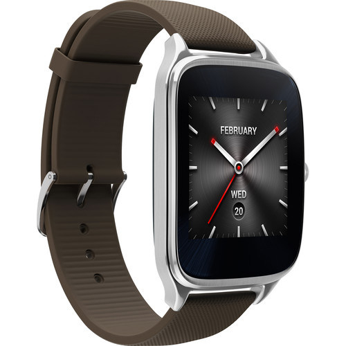 "ASUS ZenWatch 2 1.63"" Smartwatch with HyperCharge (Silver Case, Brown Rubber Band)"