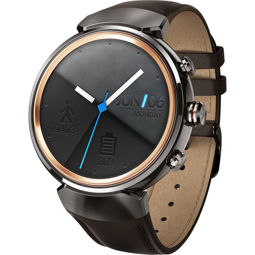 ASUS ZenWatch 3 Smartwatch (Gunmetal Casing/Dark Brown Leather Band)