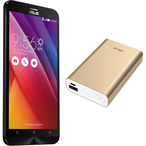 ASUS Osmium Black ZenFone 2 ZE551ML 64GB Smartphone Kit with Gold Battery Pack (Unlocked)