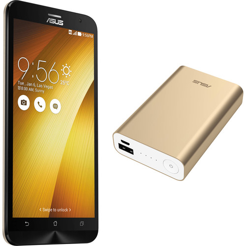 ASUS Sheer Gold ZenFone 2 ZE551ML 64GB Smartphone Kit with Gold Battery Pack (Unlocked)