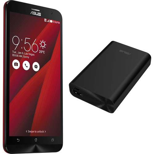 ASUS Glamour Red ZenFone 2 ZE551ML 64GB Smartphone Kit with Black Battery Pack (Unlocked)