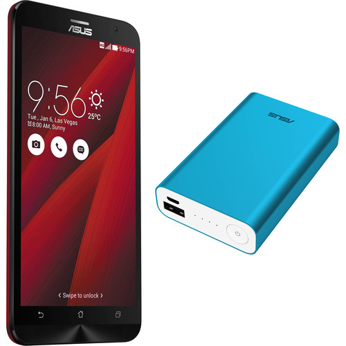 ASUS Glamour Red ZenFone 2 ZE551ML 64GB Smartphone Kit with Blue Battery Pack (Unlocked)
