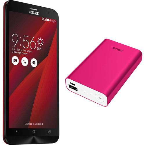 ASUS Glamour Red ZenFone 2 ZE551ML 64GB Smartphone Kit with Pink Battery Pack (Unlocked)