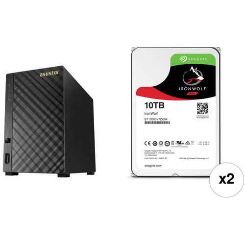 Asustor AS1002T 20TB 2-Bay NAS Server Kit with Drives (2 x 10TB)