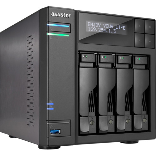 Asustor 4-Bay NAS Server with Intel Celeron Braswell Quad-Core Processor & 4GB Dual-Channel Memory